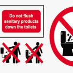 Vemos alguns exemplos de avisos para banheiro.
